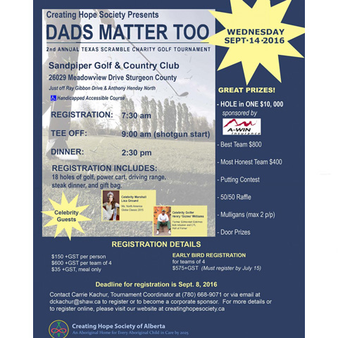 creating hope society annual dads matter too charity golf tourney