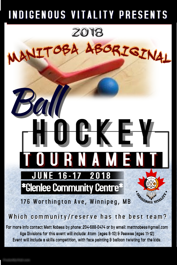 Poster for Ball Hockey Tournament at Glenlee CC on June 16-17
