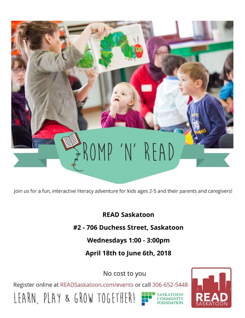 Romp n Read Poster READ April 2018